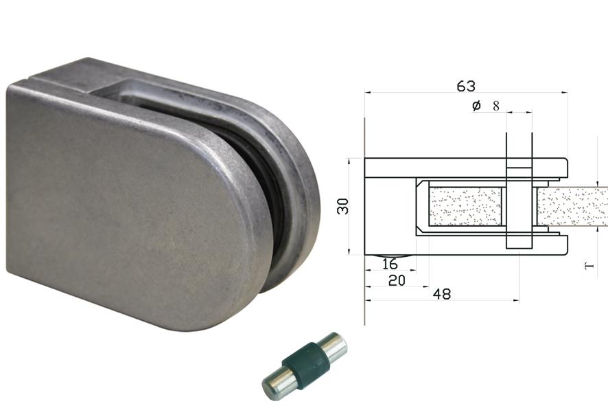Glasklemmen Modell 02 für Vierkantrohr