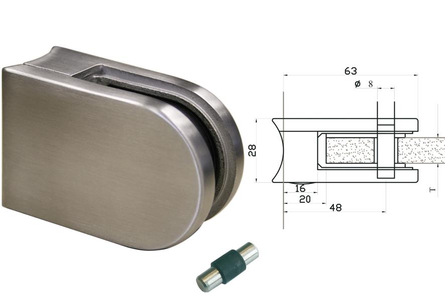V2A Glasklemmen Modell 02 für Rundrohr 42,4