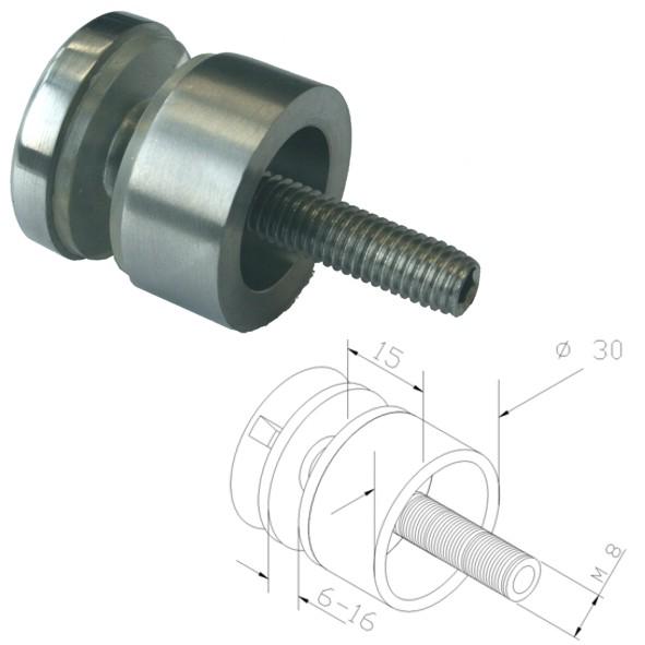 Punkthalter Ø30mm, Edelstahlfinish, für Vierkantrohr
