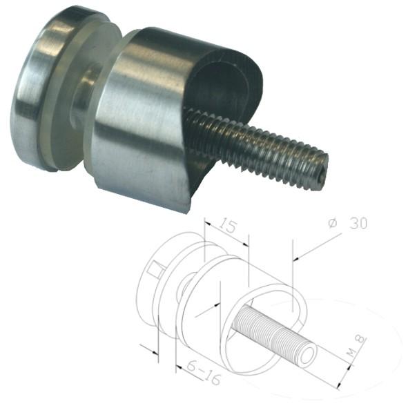 Punkthalter Ø30mm, Edelstahlfinish, für Rundrohr Ø42,4mm