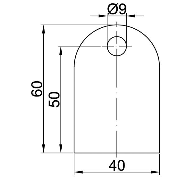 V2A Edelstahl Anschweißlaschen, 60x40x6