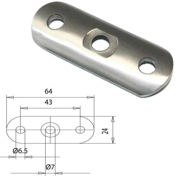 V2A Edelstahl Handlaufträgerplatten für Rundrohrdurchmesser 48,3