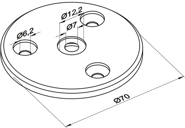 Ronde gelocht, Größe Ø 70 x 6 mm, mit 3 gesenkten Bohrungen V2A