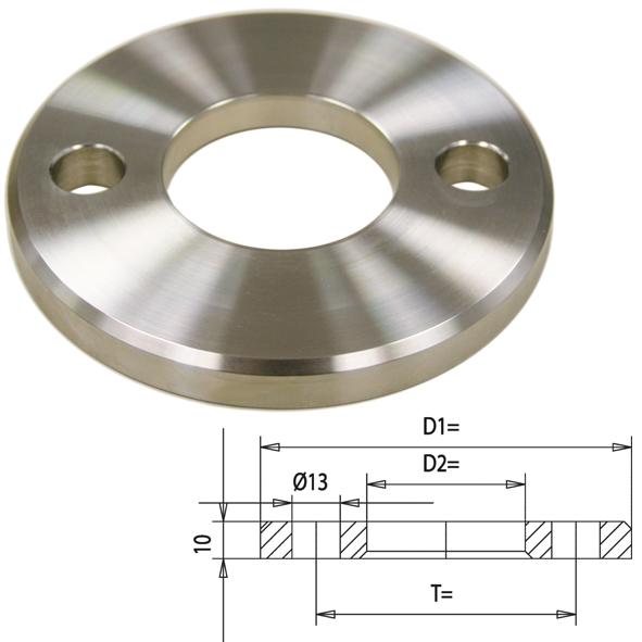 V2A gedrehte Ronde gelocht, 100x10 mm, mit Mittelloch Ø 34 mm
