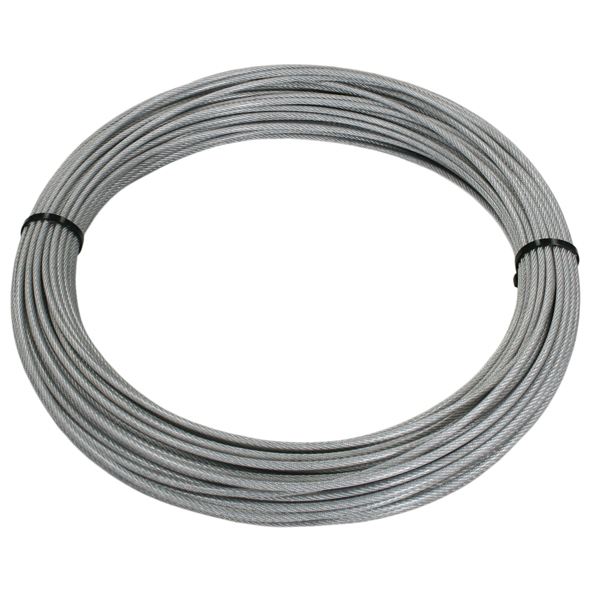 50 m Edelstahl Drahtseil mit PVC klar Ø 2/3 mm 7x7, V4A
