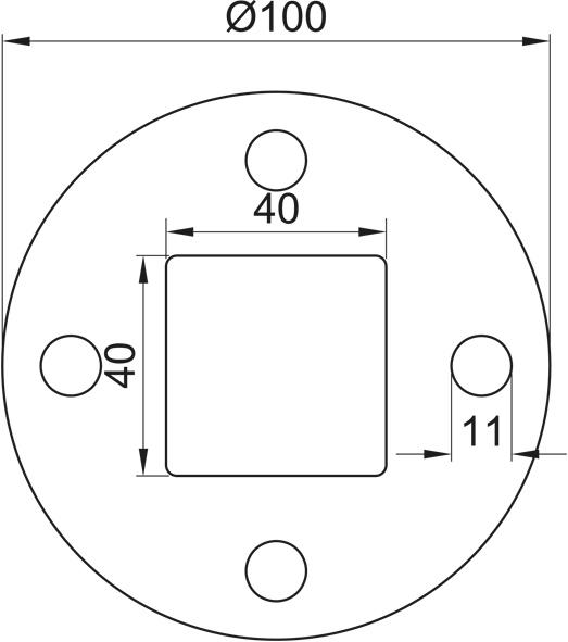 Ronde gelocht, Größe Ø 100 x 6, Mittelloch 40x40 Edelstahl V2A