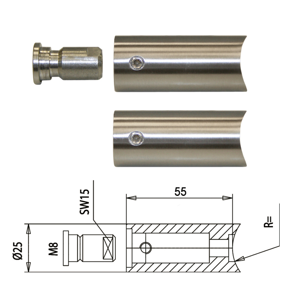 Zur Montage eines Türgriffs mit Winkelung 90° für 33,7 Rohr