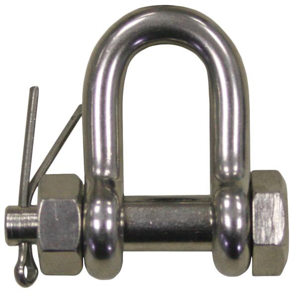 V4A Schäkel kurze Form mit Sicherung, 10 mm
