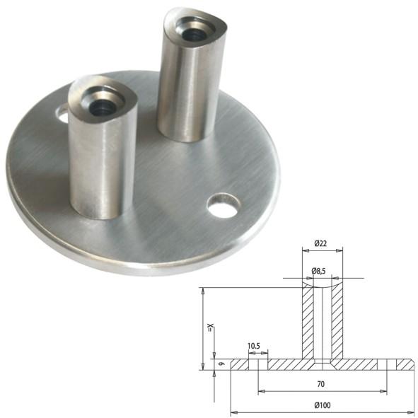 V2A Wandanker Ø 100 für Rohr Ø42,4 Abstand 50mm