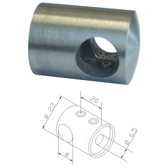 V2A Querstabhalter, Traversenhalter Ø12mm, flacher Anschluß