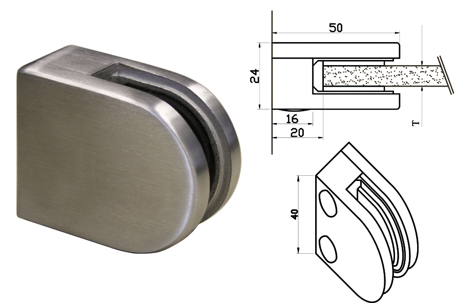 Edelstahlfinisch Glashalter Glasklemme Edelstahloptik für Rund Rohr 42,4 mm