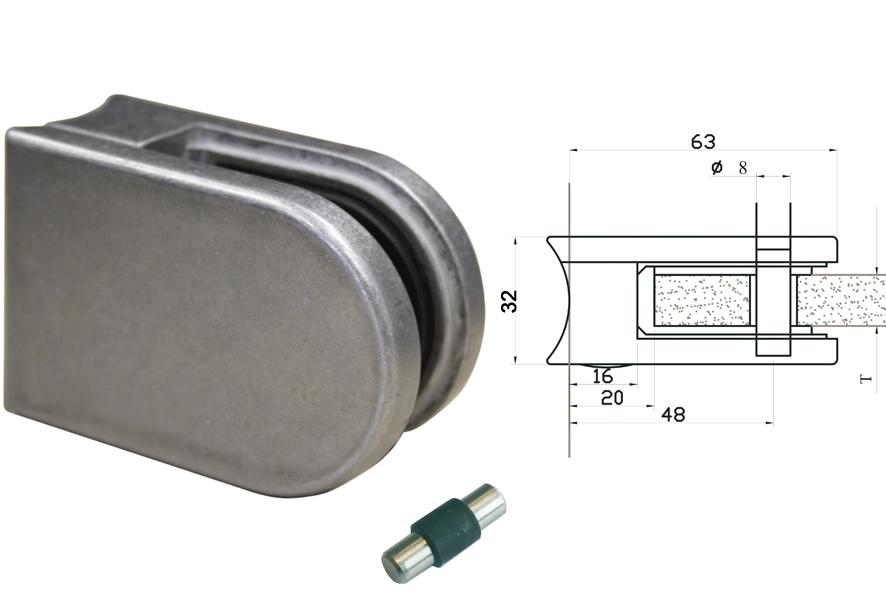 Glasklemmen Modell 05 für Rundrohr 48,3mm