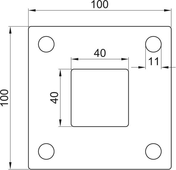 Ankerplatte, Größe 100x100x6, Mittelloch 40x40 Edelstahl V2A