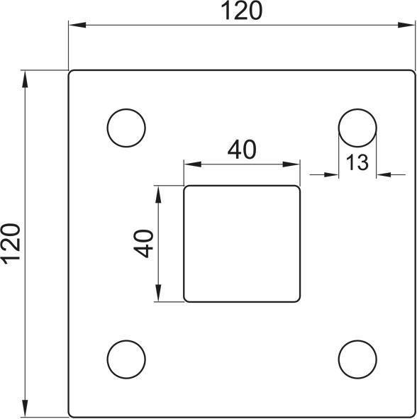 Ankerplatte, Größe 120x120x6, Mittelloch 40x40 Edelstahl V2A