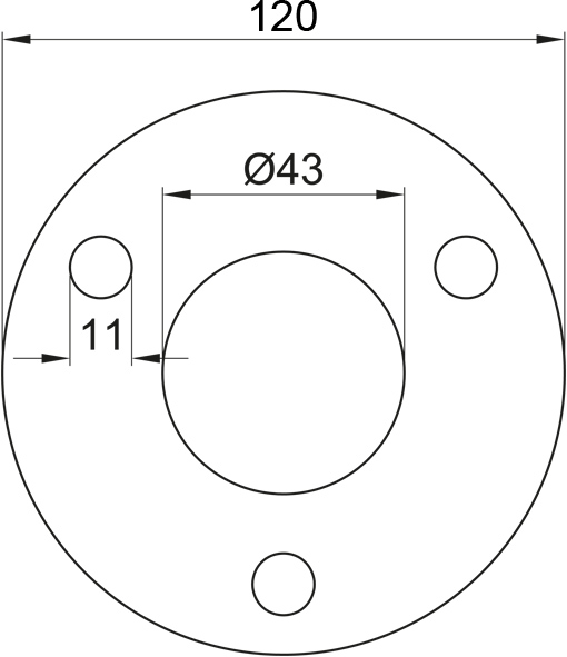 Ronde gelocht, Größe Ø 120 x 6, Mittelloch Ø 43 Edelstahl V2A