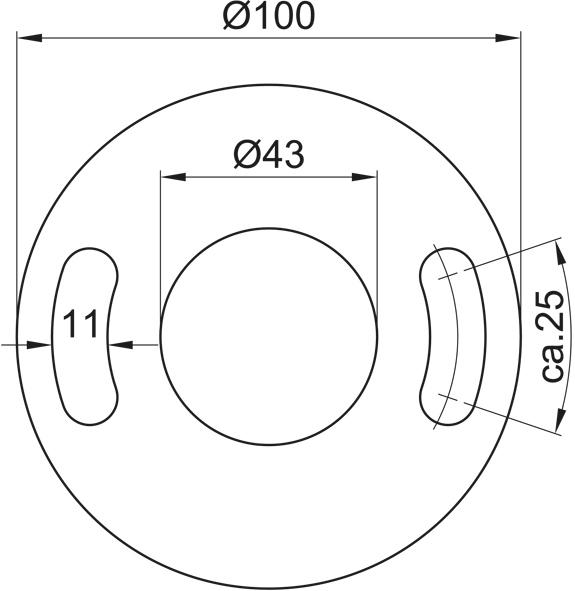 Ronde gelocht, Größe Ø 100 x 6, Mittelloch Ø 43 Edelstahl V2A